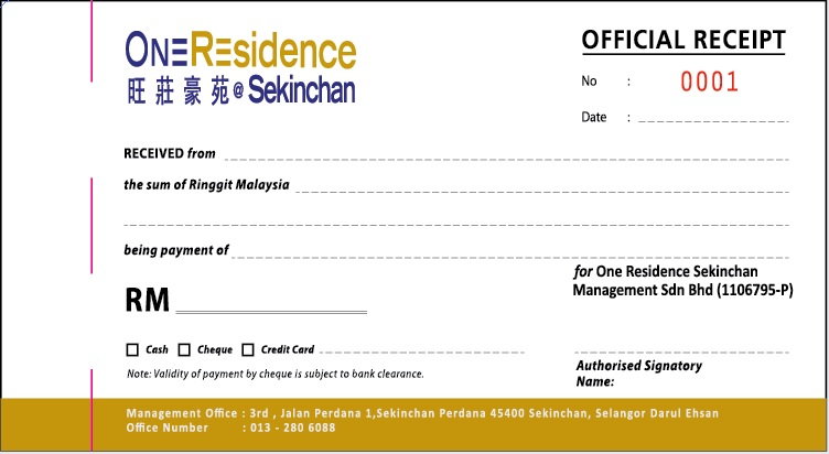 Official Receipt – Meru Computer Form