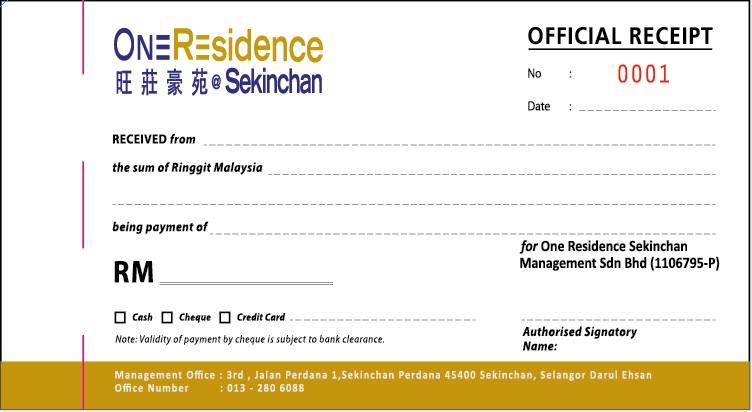 Official Receipt Meru Computer Form